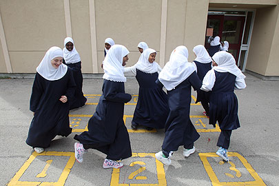 School girls wearing hijab