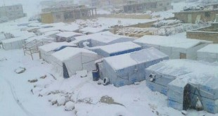 Syrian refugee camps during snow storm
