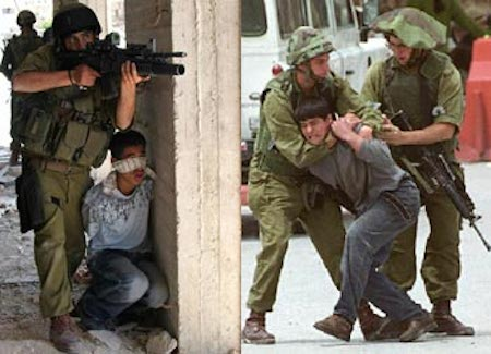 Palestinian children being harassed by Israeli soldiers.